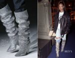 Rihanna Is The First To Rock The Saint Laurent Fall 2017 Slouchy Boots