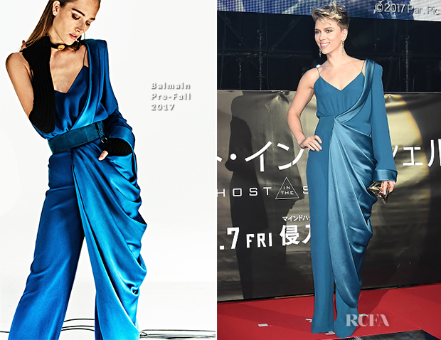Scarlett Johansson In Balmain Ghost In The Shell Tokyo Premiere Red Carpet Fashion Awards