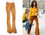 Camila Alves' Alice + Olivia suede bell-bottom pants