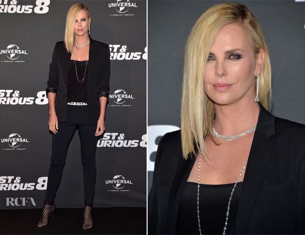 charlize theron in christian dior 39 fast furious 8 39 paris premiere red carpet fashion awards. Black Bedroom Furniture Sets. Home Design Ideas