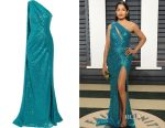 Freida Pinto's Elie Saab one-shoulder cutout sequined gown