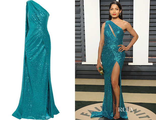 b2a51458589c Freida Pinto's Elie Saab one-shoulder cutout sequined gown