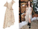 Hailee Steinfeld's Zimmermann ruffled floral-print wrap dress