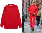 Hailey Baldwin's Balenciaga Spandex sweatshirt