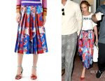 Jennifer Lopez's Gucci Union Jack corsage silk skirt