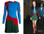 Karlie Kloss' Esteban Cortázar colour-block ribbed-knit dress