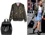 Karlie Kloss' Express bomber jacket & Mansur Gavriel leather backpack