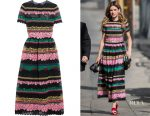 Kelly Oxford's Valentino paneled appliquéd cotton-blend lace midi dress