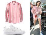 Kendall Jenner's Balenciaga stripped shirt & adidas sneakers