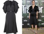 Bar Refaeli's Victoria Beckham silk-blend satin dress