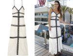 Lea Michele's Self-Portrait two-tone corded lace maxi dress