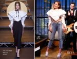 Miley Cyrus In Jacquemus & Frame - Late Night with Seth Meyers