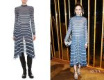 Olivia Palermo's Valentino bugle-beaded chiffon tie-neck dress