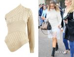 Perrie Edwards Burberry cable knit one-shoulder jumper