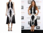 Sofia Vergara's Jonathan Simkhai lace applique contoured dress