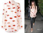 Camilla Belle's Victoria, Victoria Beckham lips print loose-fit shirt