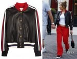 Jennifer Lopez's Gucci Lurex-trimmed leather bomber jacket