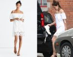 Katie Holmes' Madewell Eyelet Cold-Shoulder Dress