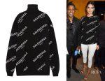 Kendall Jenner's Balenciaga oversized intarsia wool-blend turtleneck sweater
