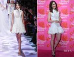 Lily Collins In Georges Chakra Couture - Lancôme 'Declaring Happiness' Exhibition