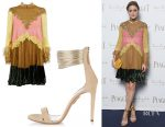 Olivia Palermo's Valentino dress & Aquazzura Spin Me Around suede sandals