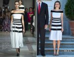 Queen Letizia Of Spain In Carolina Herrera - Spanish Royals Receive President Of Peru