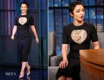 Ruth Negga In Reem Acra - Late Night with Seth Meyers