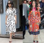 Salma Hayek In Altuzarra & Gucci - Out In New York & The Daily Show with Trevor Noah