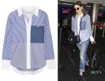 Sophia Bush's Elizabeth and James Keating striped cotton-poplin shirt
