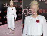 Tilda Swinton In Schiaparelli  Couture - 'Okja' New York Premiere