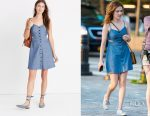 Zoey Deutch's Madewell chambray cutout cami mini dress