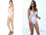 Alessandra Ambrosio's Ermanno Scervino Macramé Lace & Lycra One Piece Swimsuit