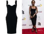 Amma Asante's Victoria Beckham Sweetheart Neckline Fitted Dress