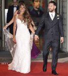 Antonella Roccuzzo weds Lionel Messi in Rosa Clará