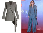 Brie Larson's Alexander McQueen Asymmetric-Drape Double-Breasted Jacket