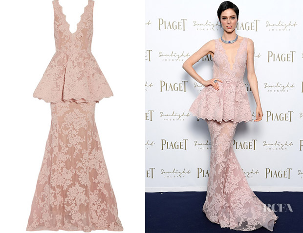 ce36ebdb13 Coco Rocha's Marchesa Guipure Lace Peplum Gown - Red Carpet Fashion ...