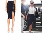 Demi Lovato's Veronica Beard Marlow Lace Up Ruched Skirt