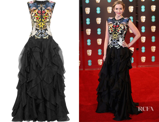 Emily Blunt's Alexander McQueen Ruffled Embroidered Silk-Organza Gown