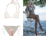 Julianne Hough's Zimmermann Mercer Crocheted Cotton and Stretch-Jersey Triangle Bikini