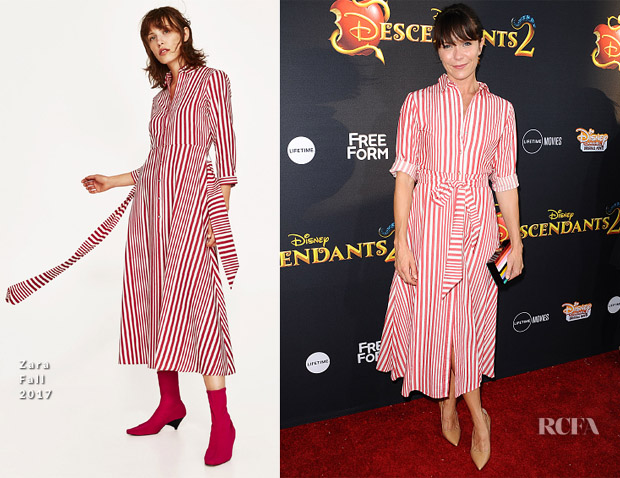 b9882e9a6457 If you've been inside a Zara store recently, you would've spotted the striped  dress Katie Aselton wore to the 'Descendants 2' LA premiere on Tuesday  (July ...