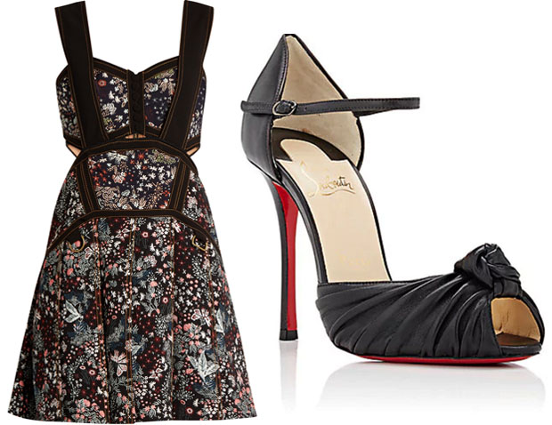 a8fccfaf0920b Self-Portrait Floral-Jacquard Mini Dress · Christian Louboutin Marchavekel  Leather Sandals