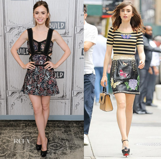 c50fec80091fe Lily Collins In Self-Portrait & Dolce & Gabbana – Build Presents: 'The Last  Tycoon'