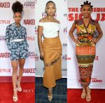 Logan Browning In Michael Kors Collection, Self-Portrait & Stella Jean -  'Naked' Premiere, 2017 Essence Festival & 'The Incredible Jessica James' Premiere