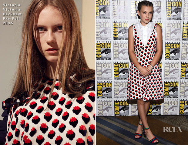 Millie Bobby Brown In Victoria Victoria Beckham & Kate Spade New York  - Comic-Con 2017: Netflix's 'Stranger Things' Press line