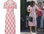 Miranda Kerr's Miu Miu Printed Crepe de Chine Wrap Midi Dress