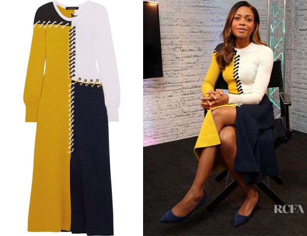 Naomie Harris' Cédric Charlier Colour-block whipstitched midi dress