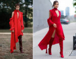 Olivia Culpo sees red in Magda Butrym while out in Long Island City
