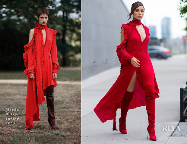 Olivia Culpo see red in Magda Butrym while out in Long Island City