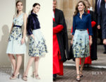 Queen Letizia of Spain wears Carolina Herrera to Westminster Abbey