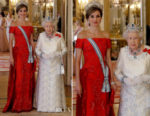 Queen Letizia of Spain wears Felipe Varela to the State Banquet at Buckingham Palace